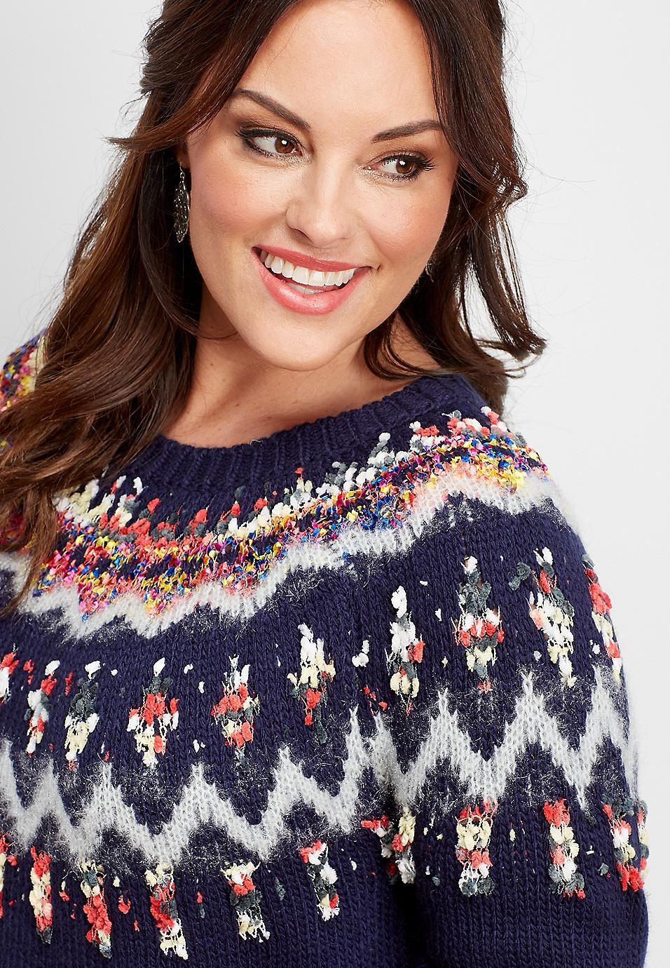 detailed pictures discount shop new arrivals plus size ribbon yoke fairisle sweater | maurices