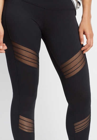pleated mesh inset 7/8 length legging