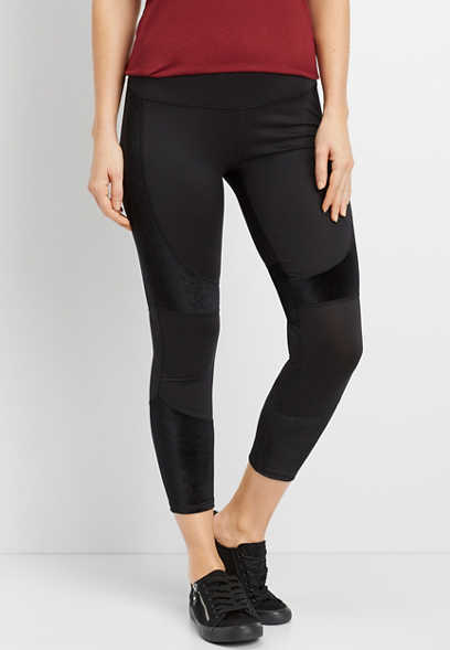 black velvet pieced 7/8 length legging