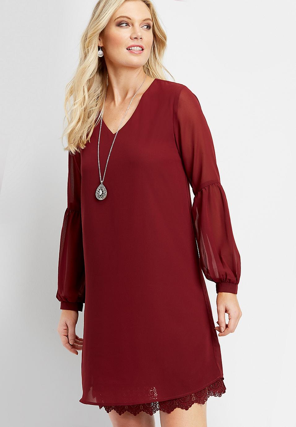 080ecc5a3d86d solid lace lantern sleeve dress   maurices