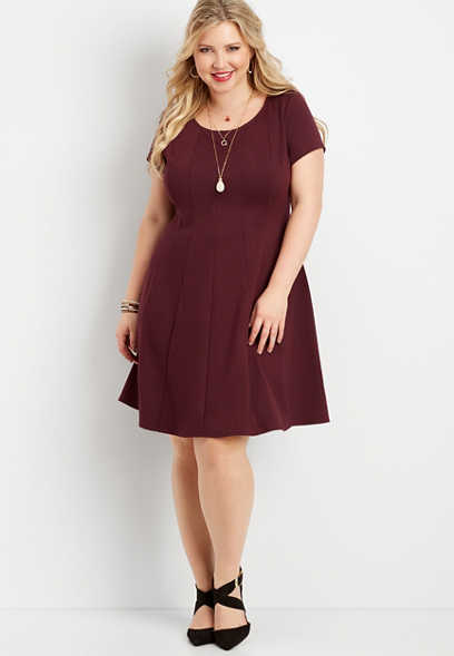 plus size seamed ponte skater dress
