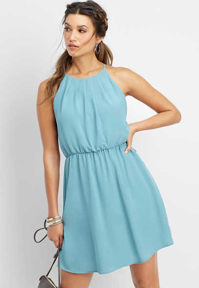 pleat neck tank dress