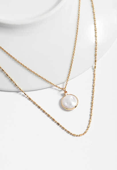 layered faux pearl and chain necklace