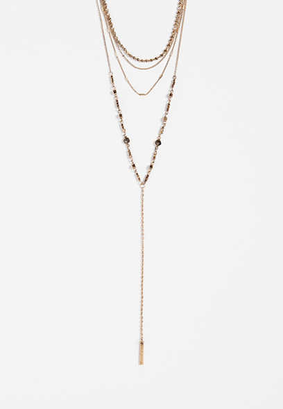 layered goldtone y-necklace