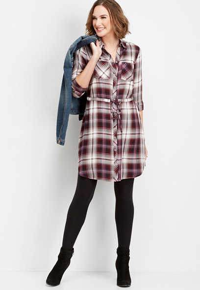 plaid tie waist shirtdress