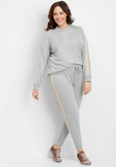 plus size side stripe jogger