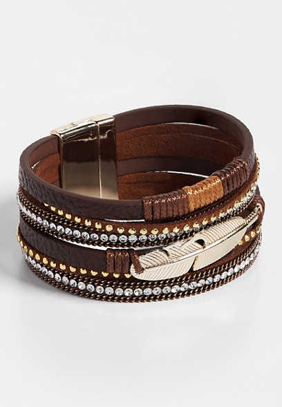 brown layered magnet feather bracelet