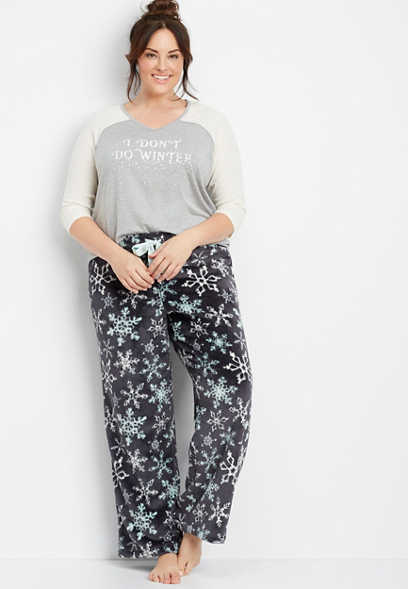 plus size snowflake sleep pant