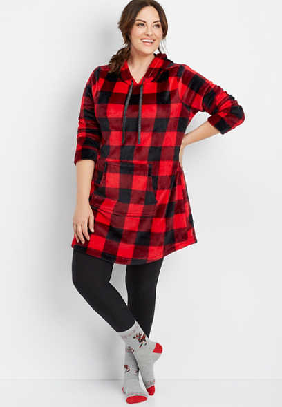 plus size buffalo plaid lounger