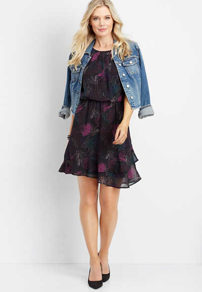 peacock ruffled skirt dress