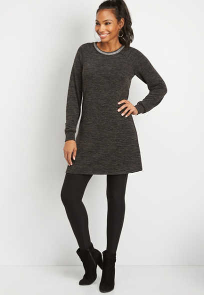 knit trim neck sweater dress