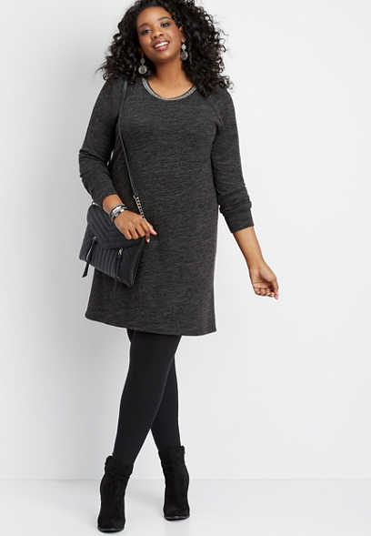 plus size knit trim neck sweater dress