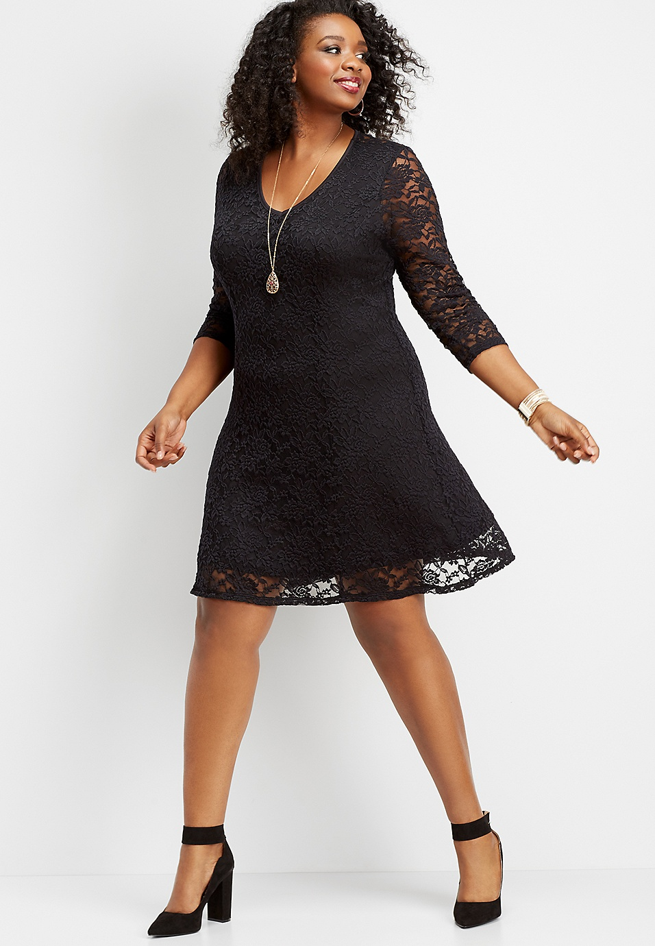plus size open back lace skater dress