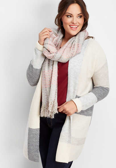 plus size long sleeve color block cardigan