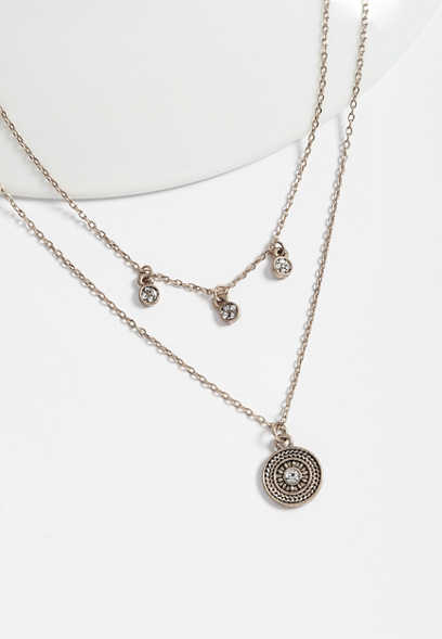 dainty double row medallion necklace