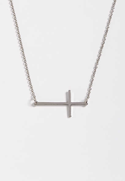 dainty side cross necklace