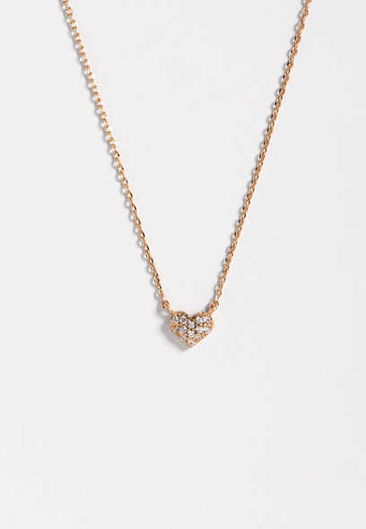 dainty stone heart pendant necklace