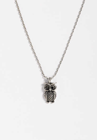 dainty owl pendant necklace