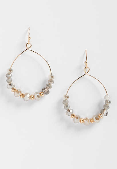 gray beaded hoop earring