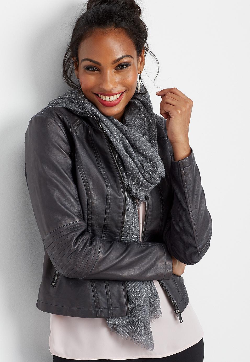 b13e930d405 elbow stitch faux leather jacket