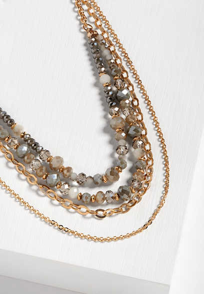 gray beaded multi row drape necklace
