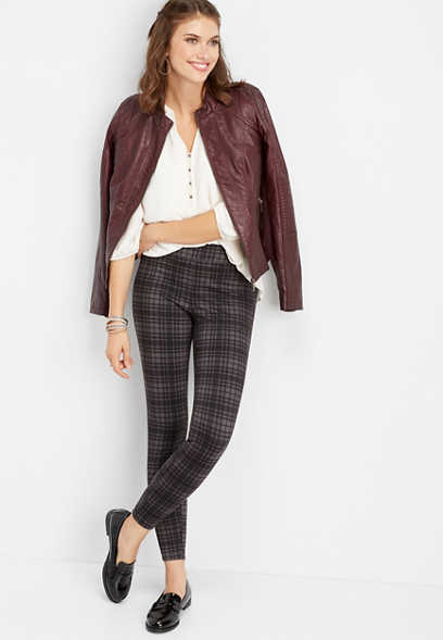 plaid ponte legging