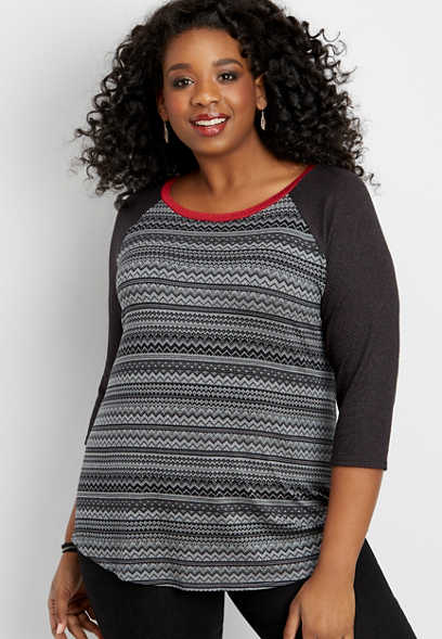 plus size 24/7 patterned baseball tee