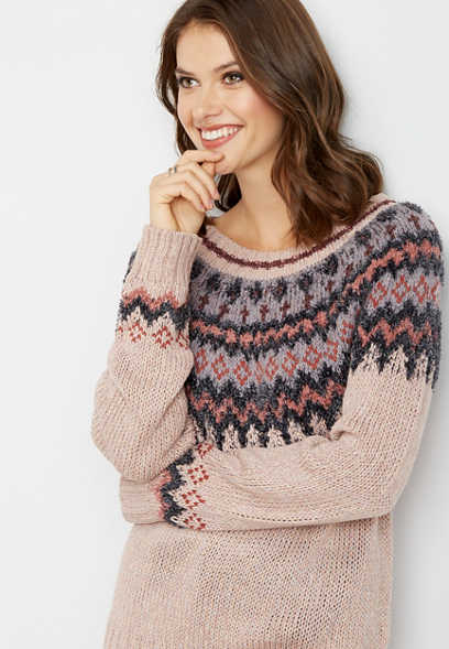 soft pink fairisle sweater