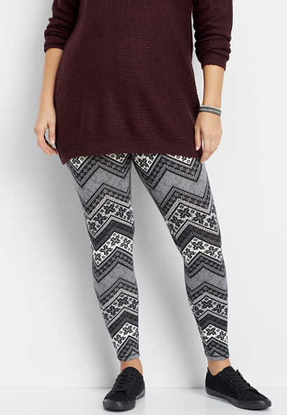 plus size chevron print hacci legging