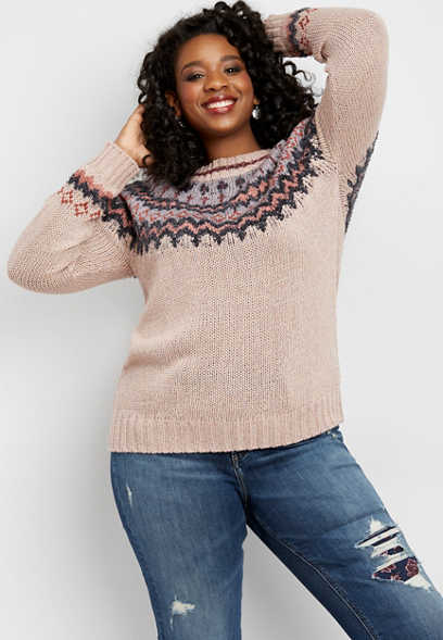 plus size soft pink fairisle sweater