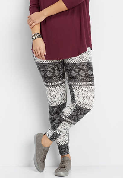 plus size black and white patterned hacci legging