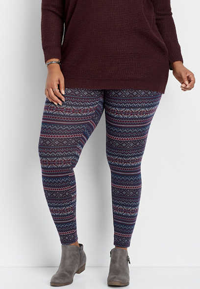 plus size navy fairisle hacci legging