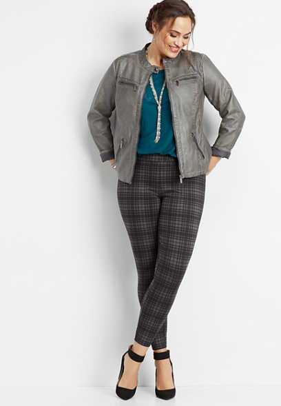 plus size plaid ponte legging