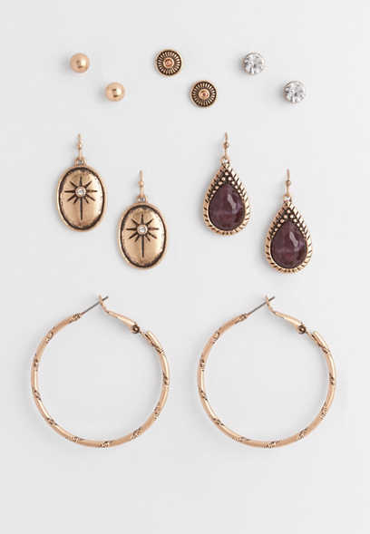 berry stone six piece earring set