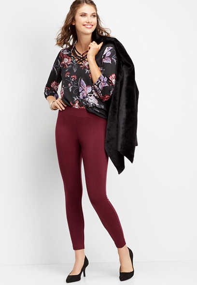 wine colored ponte legging