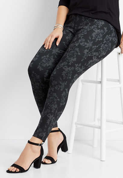 plus size floral ponte skinny pant