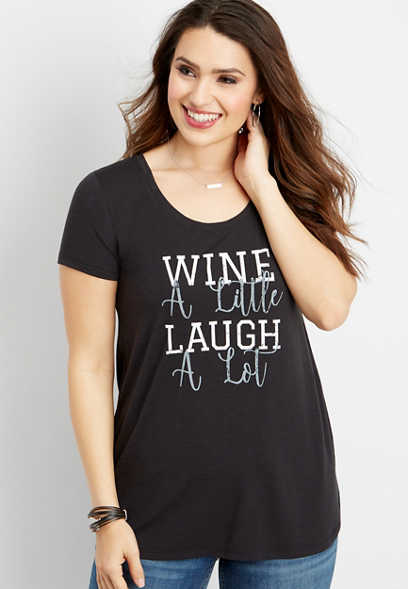 wine a little graphic tee