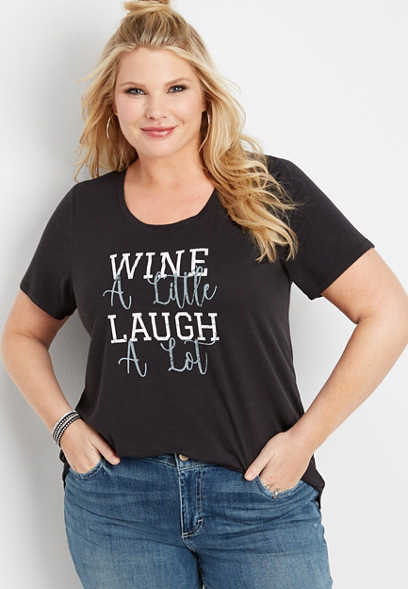 plus size wine a little graphic tee