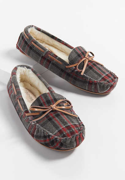 Harlow plaid slipper moccasin