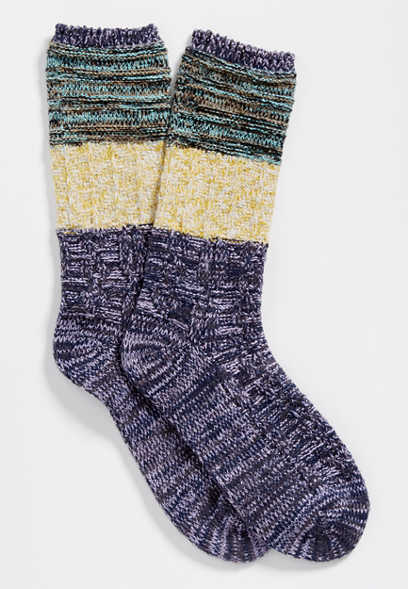 colorblock marled crew socks