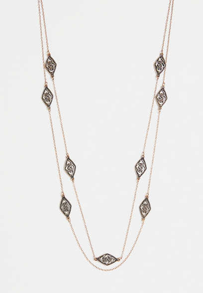 two row drape necklace