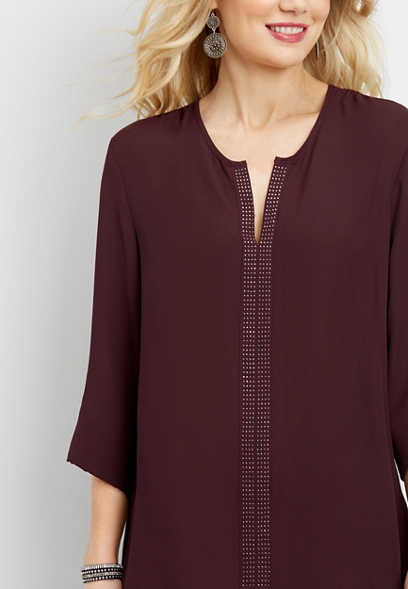 studded v-neck tunic blouse