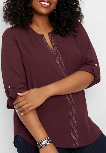 plus size studded v-neck tunic blouse