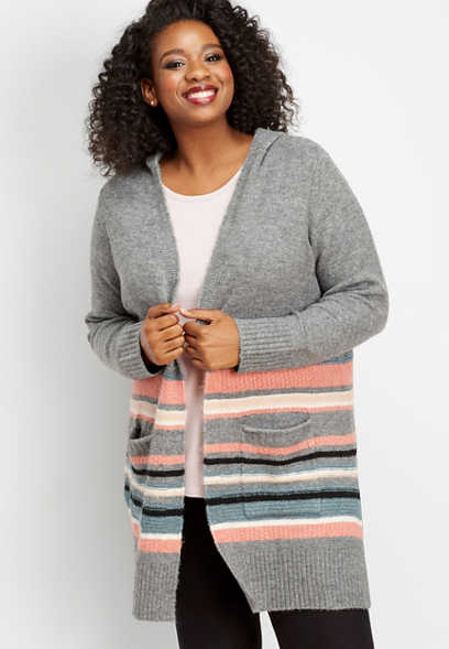 plus size hooded stripe pocket cardigan