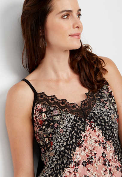 lace v-neck patterned tank