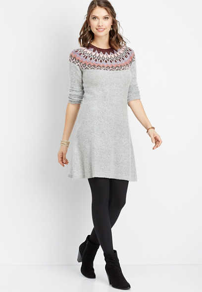 fairisle print sweater dress