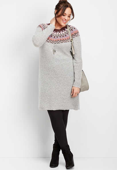 plus size fairisle print sweater dress
