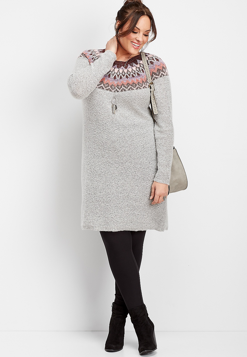 plus size fairisle print sweater dress | maurices