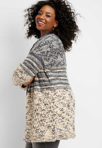 plus size patterned open front cardigan