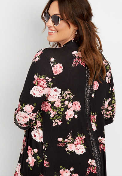 plus size knit floral open front cardigan